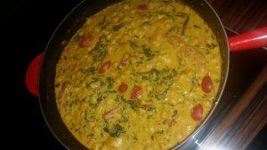 Kichererbsen-Curry mit Spinat und Kürbis